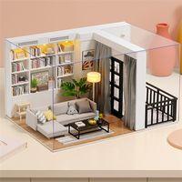 CuteBee diy دمية منزل خشبي دمية المنازل مصغرة دمية الأثاث كيت مع ألعاب الصمام للأطفال هدية عيد QT05 201217