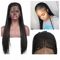 الأسود الطبيعي طويل مايكرو الضفائر الاصطناعية الدانتيل الجبهة الباروكات للنساء # 1B صندوق مزين الشعر الاصطناعية الأفريقي مع شعر الطفل