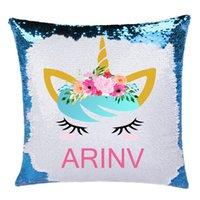 Kişiselleştirilmiş Unicorn Sihirli Yastık Örtüsü Mermaid Yastık Noel Hediye / Özel Ad Geri Dönüşümlü Pullu Gift 201006