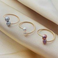 Свободный размер пресноводные жемчужные кольца для дам Fashioin позолоченное кольцо для женщин