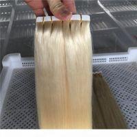"""Ruban anti-PU dans les extensions de cheveux humains EXTENSIONS DE CHEVEUX SKEPS 40PCS 100G SET 14 """"-26"""" Couleur # 60 Platinum Blonde Ruban à cheveux e"""