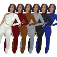 Kadın Trençkot Uzun Kollu Açık El Tarzı Kapalı Omuz Pantolon Set Seksi 6 Renk 2-piece Suit