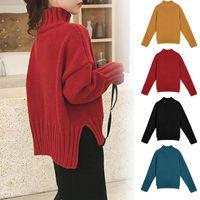 Suéter das mulheres outono mulheres inverno cor sólida manga longa tartaruga pescoço camisola para hem split tricotadas pulôveres