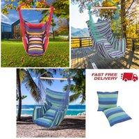 Opknoping touw Hangmat stoel Swing Seat Distinctive Cotton Canvas met 2 kussen voor Panch Patio en meer Indoor Outdoor Spaces 3 Color