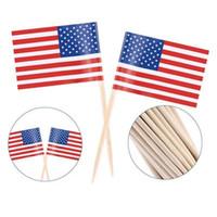 100 stücke UK Zahnstocher Flagge Amerikanische Zahnstocher Flagge Cupcake Topper Backen Kuchen Dekor Drink Bier Stick Party Dekoration Liefert CCE4322