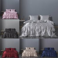 2020 حار بيع مجموعات الفراش 3 قطع الصلبة سرير بدلة حاف الغطاء الحرير مصمم لوازم الفراش في المخزون