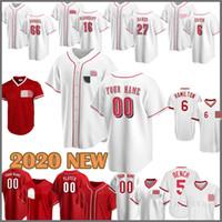 2020 Yeni Beyzbol Jersey Reds 5 Johnny Bench 11 Barry Larkin 30 Ken Griffey JR 19 Joey Votto 15 Nick Senzel 7 Eugenio Suarez 16 Barnhart Kırmızı