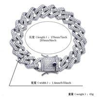 ربط سلسلة رابط 14 ملليمتر حافة 7 / 8NCH مستقيم الماس الكوبي سوار الذهب والفضة مثلج خارج زركونيا الهيبكونج الرجال المجوهرات