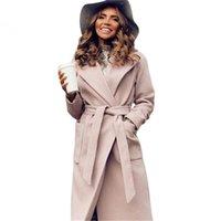 Mvgirlru kadın paltoları woolblends kadın parkas cepler kuşaklı ceketler kahverengi kahve siyah pembe giyim 201217