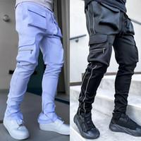 جيوب رجالي عارضة السراويل البضائع فضفاضة الفتيان الأزياء عاكس الملابس الرياضية اللياقة الجري في الهواء الطلق السراويل الطويلة زائد حجم السراويل