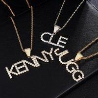 Hip Hop First Name Zirkon ausgefrischt Buchstaben Anhänger Halsketten für Männer Schmuck mit Gold Colorrope Kette Geschenke Colgante1