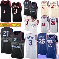 Joel 21 Embiid Ben 25 Simmons Erkekler Basketbol Formaları Allen 3 Iverson Retro Stok Philadelphias 2021 Camisetas de Baloncesto