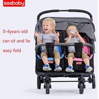 Seebaby Twin Baby passeggino può sedersi reclinabile pieghevole doppio sedile posteriore luce infantile carrello neonato gemelli carrelli 0-4 anni vecchio