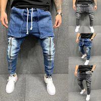 سستة بألواح رجالي مصمم جينز أزياء اثنين جيب كبير الرباط رجل سروال رصاص عارضة الذكور الملابس