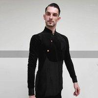 Latin Dance Gömlek Erkek Siyah Uzun Kollu Ayakta Yaka Balo Salonu Gömlek Erkekler Salsa Rumba Dans Latin Uygulama Giymek DN37751