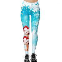Leggings das mulheres natal para mulheres senhora elasticidade casual magro leggins mujer alta cintura de cintura imprimir leggings1