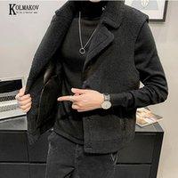 KOLMAKOV 2020 nuevos hombres coreanos Rechazo de piel de oveja chaleco negro gris espesado con terciopelo con cuello de giro chaleco masculino M-3XL