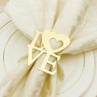 Día de San Valentín Anillo de servilletas de la boda Titulares de servilletas de metal para cenas de la fiesta de la fiesta de la boda Decoración de la mesa de la boda Hebilla de la servilleta 100pcs T1I3434