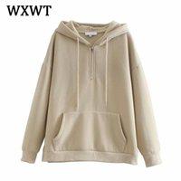 Женские толстовки толстовки WXWT женская мода молния плюс флисовая капюшона зима сплошные повседневные пуловеры теплые карманные куртки с капюшоном ST96