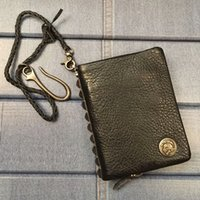 Warm chain rivet genuine of men's short male leather wallet zip around clip bag money