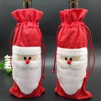 Noel Baba Hediye Çantaları Noel Süslemeleri Kırmızı Şarap Şişesi Kapak Çanta Christams Santa Şampanya Şarap Çantası Noel Hediye LLS333