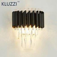 Kluzzi Black LED Lâmpada de Parede de Cristal Quarto Aisle Acende Hotel Decoração Iluminação Luminária Lâmpada de cabeceira E14wall Sconce