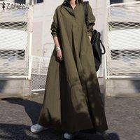 Casual Dresses Eleganter Knopf Hemd Kleid Frauen Herbst Sommerkleid Zanzea 2021 Langarm Maxi Vestido Weibliche Bagyy Robe Femme Plus Größe