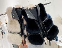 2020 새로운 디자인 여성의 턴 다운 칼라 PU 가죽 패치 워크 가짜 모피 지퍼 장식 민소매 짧은 조끼 코트 카마스