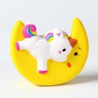 Pulver langsam steigend Squishy Unicorn Mond Eiscreme Flash Kawaii Telefon Charms Anhänger Riemen Weihnachtsgeschenk Stress Reliever