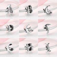 Другие стерлинговые серебряные 925 моды SELLELCE A до Z алфавит бисера бусин подходит для подвесок браслеты браслеты DIY ювелирные изделия1