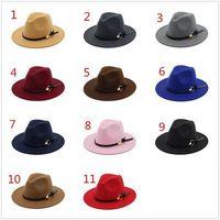 Fashion top hats elegante moda sólido fieltro fedora sombrero banda ancha plana salsa jazz sombreros con estilo trilby panama gorras rre2918