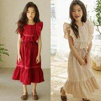 Volantes algodón maxi adolescente vestido largo princesa niña niño niños niños para niñas verano pétalo manga roja khaki ropa lj200921