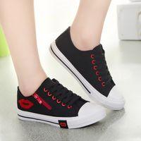 Primavera e verão coreana sapatas de lona corte baixo das mulheres com lábios vermelhos estudantes zíper lateral sapatos casuais planas