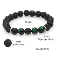Precio de fábrica Black 2019 Lava caliente de moda Pulseras de cuentas natural 8mm Tiger Eye Volcánico Difusor Difusor Yaga Beads Bracele
