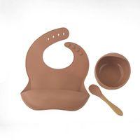 14 colores bebé silicona alimentación babero tazón cuchara 3 piezas de dibujos animados impermeable grado alimento recién nacido delantal ajustable ins saliva toalla