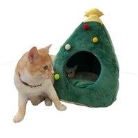 고양이 침대 가구 새끼 고양이에 대 한 소프트 하우스 홈 크리스마스 침대 개집 나무 모양의 동굴 수면 나무 모양 카마 파라 Cachorro