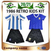 1986 Copa do Mundo Retro Argentina Crianças Kit de Futebol Jerseys 1986 # 10 Maradona # 9 Batistuta Menino Futebol Camisa Crianças Futebol Uniformes