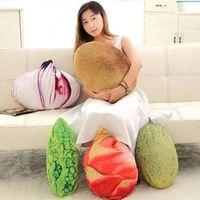 Söt simulering frukt grönsakslök kiwi cantaloupe balsam päron pitaya kudde fylld plysch leksak kudde barn barn flicka vän gåvor leksak