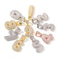الهيب هوب 0-9 مثلج من أرقام مخصصة قلادة قلادة الذهب والفضة اللون الزركون مع سلسلة حبل 24 بوصة ewelry