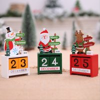 3D Christmas Wood Calendar Cute Santa Deer Snowman Printed C...