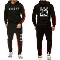 Bahar ve Kış Kapüşonlu Koşu Takım Kazak + Pantolon 2 Sıcak erkek Renk Eşleştirme Casual Spor Giyim