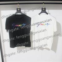 21 ss Signature Männer Frauen T-Shirt Paris Europe Stickerei Druck Brief Mode Herren T-shirts Casual Männer Frauen Kleidung Baumwolle T-Shirt Tops FG9571