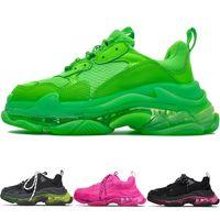 Nouvelle mode triple s Clear Sole Entraîneurs Hommes Sports Running Chaussures Paris Clunky Sneaker Black Green Femmes Coussin Coussin Chaussures Pas de boîte!