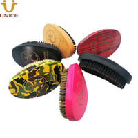 MOQ 100 pcs Amazon Hot Sale Custom LOGO Wave Brush Boar Bristles Hair Brush Curved Wave Palm Brush Red Pink Black Camouflage Wooden