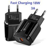 Toptan 18 W Duvar Şarj 1 Port QC 3.0 USB 3A Max Hızlı Şarj Adaptörü Samsung LG Telefon Pad Için Uyumlu (Siyah / Beyaz)