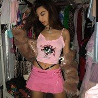 Bordado rosa camis tops mulheres verão streetwear desenhos animados powerpuff impressão colhido bonito sem mangas plissado colete de gota de gota 2020 y200512