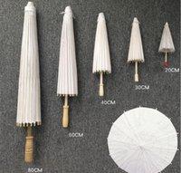 200pc 20cm 30 cm 40 cm 60 cm 84cm Chinês papel de petróleo guarda-chuva branco art deco guarda-chuva de papel decorativo festa de casamento pintado à mão pintura