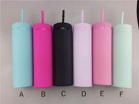 Vente en gros de 16 oz Skinny Skinny Tumblers Mattes Colories Acryliques de couleur avec couvercles et pailles Double mur en plastique de plastique avec paille