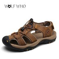 Kurt kim ayakkabı erkekler sandalet hakiki deri inek derisi erkekler sandalet yaz kaliteli plaj terlik rahat sneakers açık plaj ayakkabı T200420