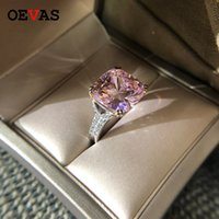 Ovas 100% 925 Sterling Silver Sparkling Quadrado Rosa Amarelo Branco Alto Carbono Diamante Anéis de Casamento para Mulheres Fine Jewery presentes Y1124